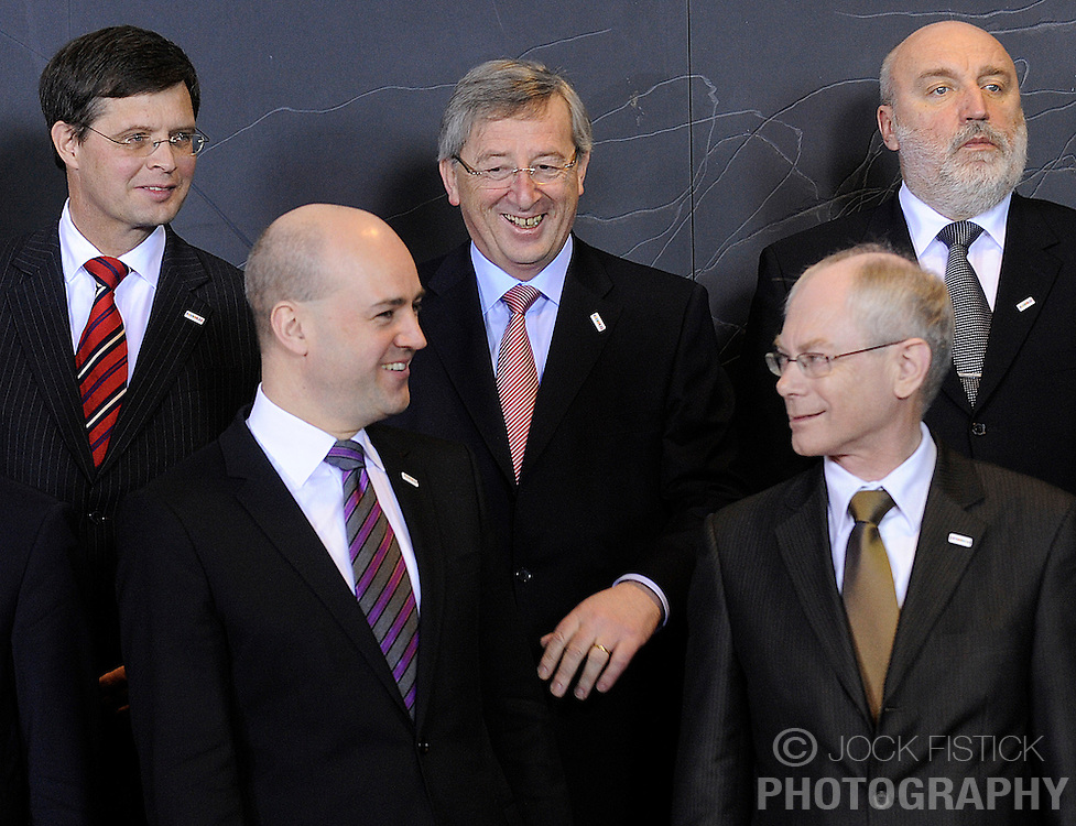 Jean-Claude Juncker, Luxembourg's prime minister, shares a laugh with Fredrik Reinfeldt, Sweden's prime minister, during the European Union summit at EU headquarters in Brussels, Belgium, on Sunday, March. 1, 2009. .(Photo © Jock Fistick)