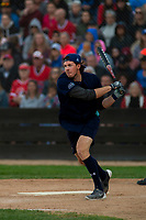 KELOWNA, CANADA - JUNE 28: NHL Nashville Predator Ryan Johansen hits the ball during the opening charity game of the Home Base Slo-Pitch Tournament fundraiser for the Kelowna General Hospital Foundation JoeAnna's House on June 28, 2019 at Elk's Stadium in Kelowna, British Columbia, Canada.  (Photo by Marissa Baecker/Shoot the Breeze)