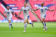 Tranmere Rovers Connor Jennings(11) scores to make it 1-1 and celebrates during the Vanarama National League Play Off Final match between Tranmere Rovers and Forest Green Rovers at Wembley Stadium, London, England on 14 May 2017. Photo by Adam Rivers.