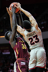 NORMAL, IL - February 02: Aher Uguak and William Tinsley share a rebound, but William Tinsley gains possession on the floor during a college basketball game between the ISU Redbirds and the University of Loyola Chicago Ramblers on February 02 2019 at Redbird Arena in Normal, IL. (Photo by Alan Look)