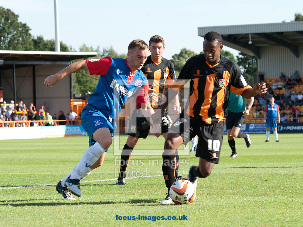 Picture by Matt Crossick/Focus Images Ltd +44 7711 374584.08/09/2012.Jon Nurse of Barnet and Charlie Lee of Gillingham during the npower League 2 match at Underhill Stadium, London.