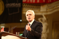 © Licensed to London News Pictures. 28/04/2017. Liverpool UK. Labour Shadow Chancellor John McDonnell speaking at an election Rally in St George's Hall in Liverpool this evening. Photo credit: Andrew McCaren/LNP