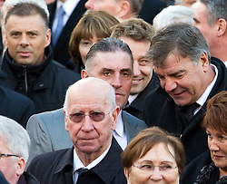 © under license to London News Pictures. 26/1/2011.Premier League referee Mark Halsey,  Sir Bobby Charlton and Sam Allardyce arriving at the funeral of Bolton Wonderers and England star, Nat Lofthouse at Bolton Parish Church today (26/01/2011) Nat died at the age of 85. Photo credit should read:Joel Goodman/LNP