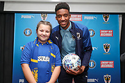 AFC Wimbledon goalkeeper Nathan Trott (1) with Mascot during the EFL Sky Bet League 1 match between AFC Wimbledon and Portsmouth at the Cherry Red Records Stadium, Kingston, England on 19 October 2019.