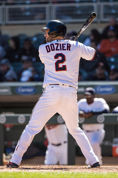 MINNEAPOLIS, MN- APRIL 6: Brian Dozier #2 of the Minnesota Twins bats against the Kansas City Royals on April 6, 2017 at Target Field in Minneapolis, Minnesota. The Twins defeated the Royals 5-3. (Photo by Brace Hemmelgarn) *** Local Caption *** Brian Dozier