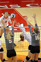 06 November 2015:  Jacqueline Twing(9) sets to her back during an NCAA women's volleyball match between the Bradley Braves and the Illinois State Redbirds at Redbird Arena in Normal IL (Photo by Alan Look)
