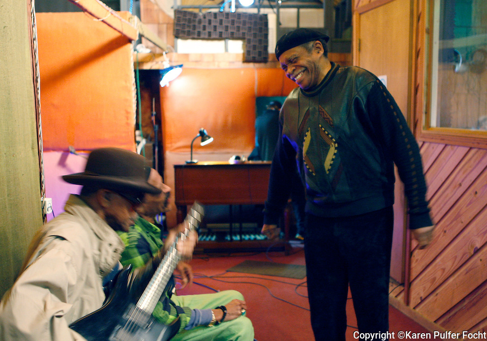 Feb 9, 2012 -  Memphis musicians play around during a recording session at WIllie Mitchell's  Royal Studios in south Memphis. Otis Clay is at right and Earl Banks is at left, Teenie Hodges next to Banks. (Karen Pulfer Focht/ The Commercial Appeal)