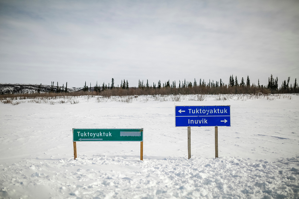 Tuktoyaktuk is the most northern settlement in Canada that is road accessible, but only in winter when the Mackenzie River is frozen.
