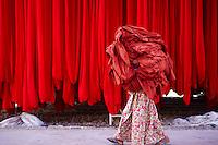 Inde, Rajasthan, Usine de Sari, manutention des balles de tissu. // India, Rajasthan, Sari Factory, transport of the textiles.