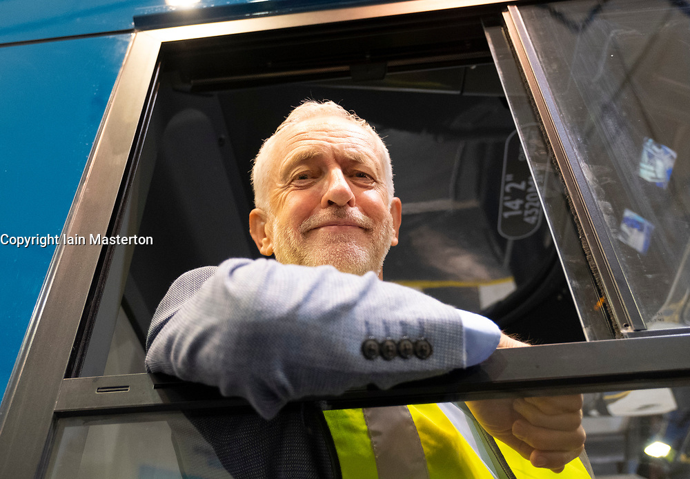 "Falkirk, Scotland, UK; 20 August, 2018. Labour Leader Jeremy Corbyn and Scottish Labour Leader Richard Leonard visit Alexander Dennis bus manufacturers in Falkirk as part of Labour's ""Build it in Britain"" policy."