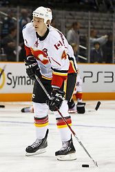 March 23, 2011; San Jose, CA, USA;  Calgary Flames defenseman Jay Bouwmeester (4) warms up before the game against the San Jose Sharks at HP Pavilion. San Jose defeated Calgary 6-3. Mandatory Credit: Jason O. Watson / US PRESSWIRE