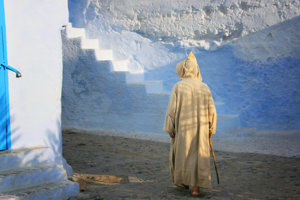 Old man in the medina of Chefchaouen, Morocco.