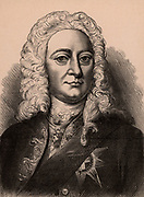 George II (1683-1760) king of Great Britain and Ireland and elector of Hanover from 1727.  Member of the Hanoverian dynasty. Wood engraving c1900.