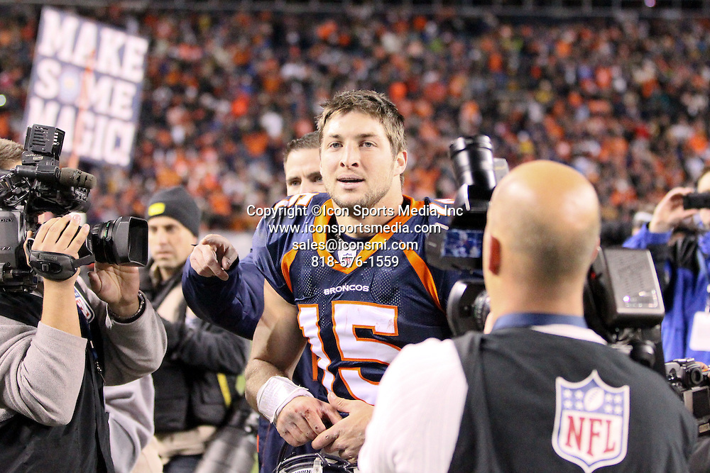 08 January 2012: Denver Broncos quarterback Tim Tebow (15) leaves the field after the game.  The Denver Broncos defeated the Pittsburgh Steelers by a score of 29 to 23 at Sports Authority Field at Mile High, Denver, CO.