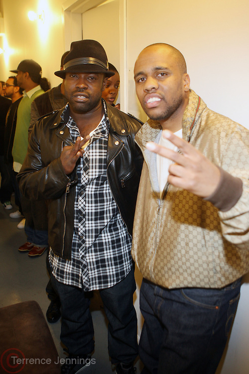 l to r: Black Thought and Consequence backstage at The Hennessey Artistry Concert Series held at Terminal 5 on  October 7, 2009 in New York City