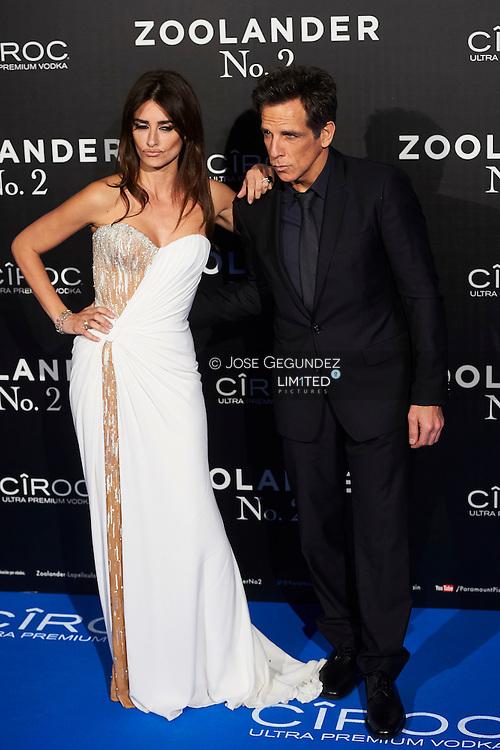 Penelope Cruz, Ben Stiller attend 'Zoolander No. 2' film premiere at Capitol Cinema on February 1, 2016 in Madrid, Spain
