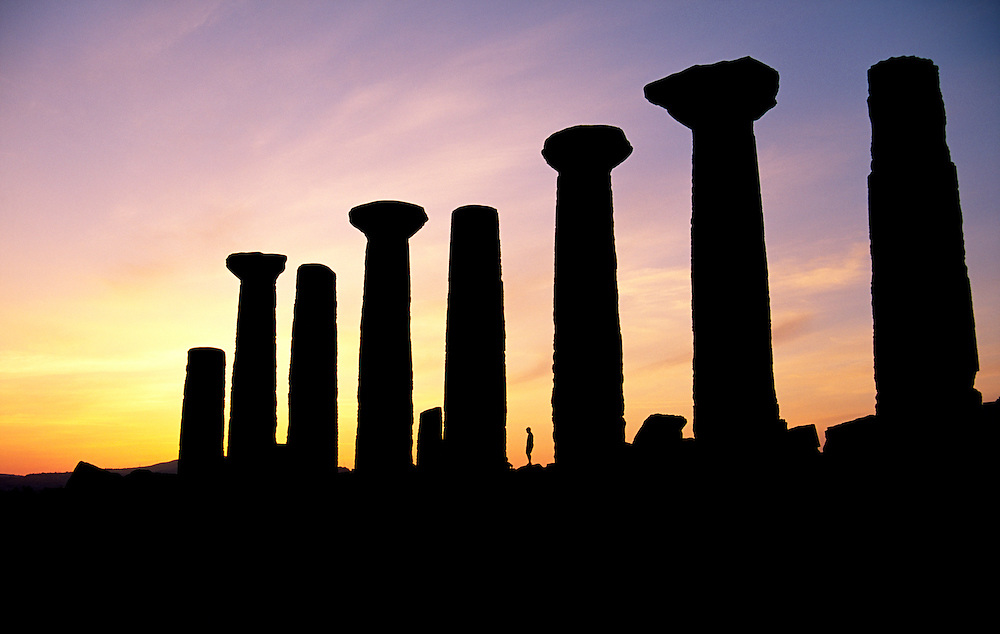 Agrigento, Sicily, Italy. The Temple of Hercules in the ancient Greek Valley of Temples at Agrigento