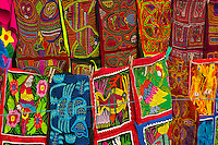 Kuna Indian Mola embrodery handicrafts, Wichub Wala Island, San Blas Islands (Kuna Yala), Caribbean Sea, Panama