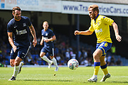 Leeds United Midfielder Samu Saiz (21) and Southend United Defender John White (48) in action during the Pre-Season Friendly match between Southend United and Leeds United at Roots Hall, Southend, England on 22 July 2018. Picture by Stephen Wright.