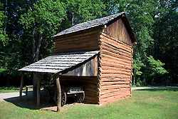 Tobacco barn, Booker T. Washington National Monument, Hardy, Virginia, August 5, 2008.  The Monument is located on the site of the James and Elizabeth Burroughs Plantation, where Washington was born a slave on April 5, 1865.