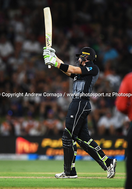 Martin Guptill batting.<br /> Pakistan tour of New Zealand. T20 Series. 3rd Twenty20 international cricket match, Bay Oval, Mt Maunganui, New Zealand. Sunday 28 January 2018. &copy; Copyright Photo: Andrew Cornaga / www.Photosport.nz
