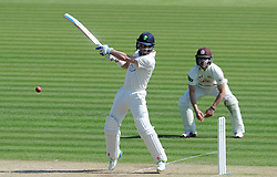 Glamorgan's Mark Wallace cuts the ball. - Photo mandatory by-line: Harry Trump/JMP - Mobile: 07966 386802 - 21/04/15 - SPORT - CRICKET - LVCC County Championship - Division 2 - Day 3 - Glamorgan v Surrey - Swalec Stadium, Cardiff, Wales.