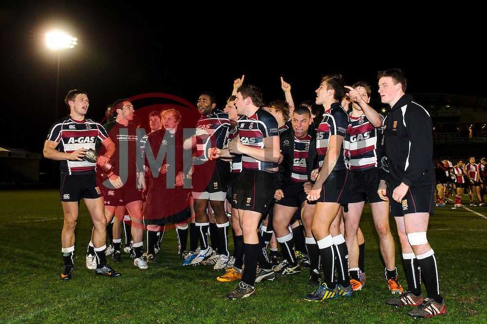 The Bristol players celebrate their victory with the Varsity trophy after the match finishes Bristol 28-12 UWE - Photo mandatory by-line: Rogan Thomson/JMP - Tel: Mobile: 07966 386802 - 29/04/2013 - SPORT - RUGBY - Memorial Stadium - Bristol. University of Bristol v University of the West of England - 2013 edition of the annual Rugby Union University Varsity match in Bristol.