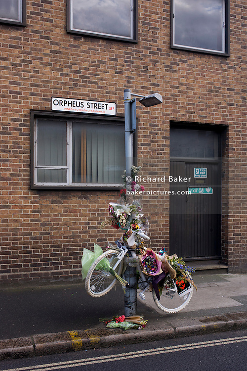 The ghost bike near the location in Orpheus Street where cyclist Esther Hartsilver was killed by a right-turning lorry in Camberwell, on 28th May 2015.