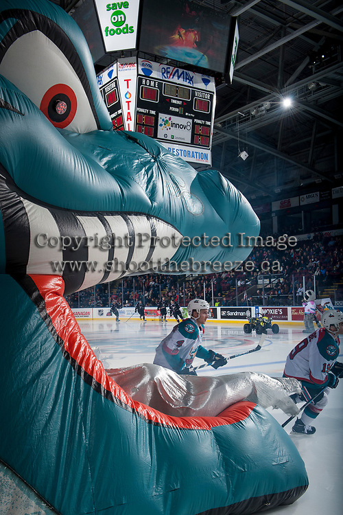 KELOWNA, CANADA - NOVEMBER 11: Gordie Ballhorn #4 of the Kelowna Rockets enters the ice at the start of the game against the Red Deer Rebels on November 11, 2017 at Prospera Place in Kelowna, British Columbia, Canada.  (Photo by Marissa Baecker/Shoot the Breeze)  *** Local Caption ***