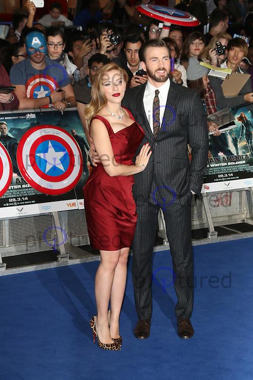 Scarlett Johansson; Chris Evans, Captain America: The Winter Soldier - UK Film Premiere, Westfield London UK, 20 March 2014, Photo by Richard Goldschmidt