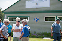 Sonny Wood and Don Mullally chat by the pool house prior to the 70th Anniversary celebration of the Kiwanis Pool in St. Johnsbury Vermont.  Karen Bobotas / for Kiwanis International
