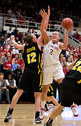 March 22, 2010; Stanford, CA, USA;  Stanford Cardinal forward/center Jayne Appel (2) shoots over Iowa Hawkeyes center Morgan Johnson (12) during the second half in the second round of the 2010 NCAA womens basketball tournament at Maples Pavilion. Stanford defeated Iowa 96-67.