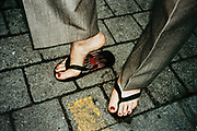 Close-Up of Feet in Sandals