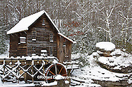 67395-04116 Glade Creek Grist Mill in winter, Babcock State Park, WV