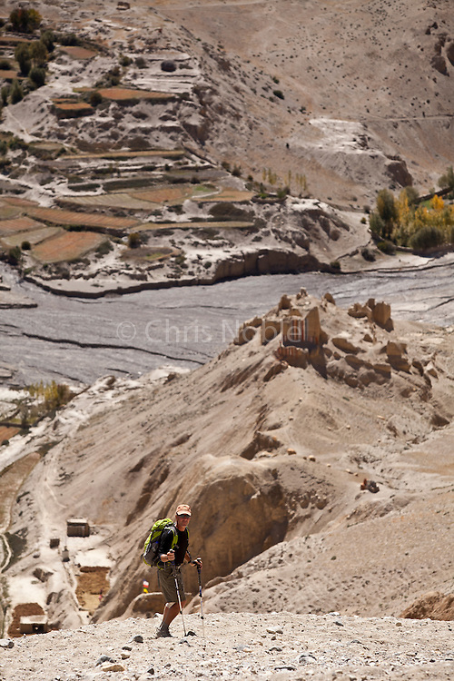 Trekker Doug Hahn above the village of Dhi (and the ruins of a monastery) in Nepal's Upper Mustang Region.