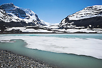 Sunwapta Lake and Athabasca Glacier, Jasper National Park, Alberta, Canada