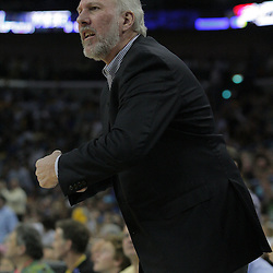 17 December 2008:  San Antonio Spurs coach Gregg Popovich reacts to an officials call during a NBA regular season game between the Western Conference rivals the San Antonio Spurs and the New Orleans Hornets at the New Orleans Arena in New Orleans, LA..