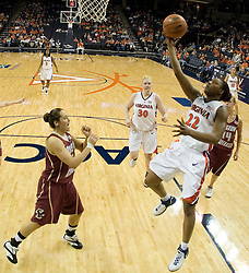 UVA's Monica Wright (22) heads to the basket against BC.  The Cavaliers defeated the Eagles 65-63 in overtime at the John Paul Jones Arena in Charlottesville, VA on January 14, 2007.