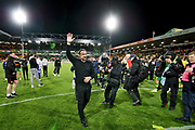 Norwich City Manager Daniel Farke celebrates with the Norwich fans after the EFL Sky Bet Championship match between Norwich City and Blackburn Rovers at Carrow Road, Norwich, England on 27 April 2019.