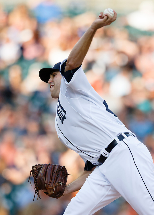 Aug 5, 2015; Detroit, MI, USA; Detroit Tigers starting pitcher Matt Boyd (48) pitches in the second inning against the Kansas City Royals at Comerica Park. Mandatory Credit: Rick Osentoski-USA TODAY Sports