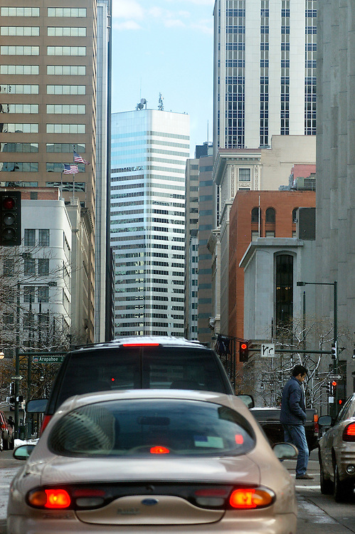 View down 17th Street in downtown Denver