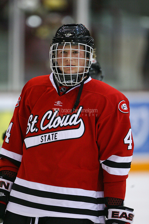 Oct 22, 2010; Minneapolis, MN, USA; St. Cloud State defenseman Taylor Johnson (4) prior to the St. Cloud State Huskies 5-2 victory over the Minnesota Golden Gophers. Credit: Brace Hemmelgarn