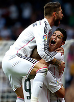 "Spanish  League""- match Real Madrid Vs FC Barcelona- season 2014-15 - Santiago Bernabeu Stadium - Several players of Real Madrid celebrates a goal the during the Spanish League match against FC Barcelona(Photo: Guillermo Martinez / Bohza Press / Alter Photos)"