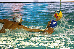 July 24, 2018 - Barcelona, Spain - Ioannis Fountoulis (Greece) and Marc Minguell (Spain) during the match between Spain and Greece, corresponding to the women group stage of the European Water Polo Championship, on 19th July, 2018, in Barcelona, Spain. (Credit Image: © Joan Valls/NurPhoto via ZUMA Press)