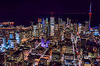 Toronto Skyline featuring City Hall (in purple light)