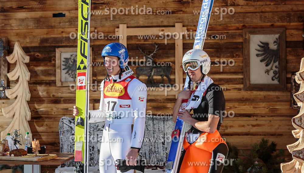 30.01.2016, Casino Arena, Seefeld, AUT, FIS Weltcup Nordische Kombination, Seefeld Triple, Skisprung, Wertungssprung, im Bild v.l.: Bernhard Gruber (AUT), Lukas Klapfer (AUT) // f.l.: Bernhard Gruber of Austria Lukas Klapfer of Austria after his Competition Jump of Skijumping of the FIS Nordic Combined World Cup Seefeld Triple at the Casino Arena in Seefeld, Austria on 2016/01/30. EXPA Pictures © 2016, PhotoCredit: EXPA/ JFK