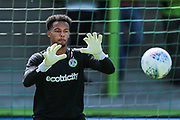 Forest Green Rovers goalkeeper Joe Wollacott(13) warming up during the EFL Sky Bet League 2 match between Forest Green Rovers and Grimsby Town FC at the New Lawn, Forest Green, United Kingdom on 17 August 2019.