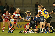 F De Klerk feeds during the Aviva Premiership match between Sale Sharks and Gloucester Rugby at the AJ Bell Stadium, Eccles, United Kingdom on 29 September 2017. Photo by George Franks.