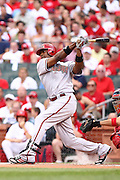 29 June 2010: Arizona Diamondbacks right fielder Justin Upton (10) swings and misses at a pitch during Tuesday's game against the St. Louis Cardinals  at Busch Stadium in St. Louis, Missouri. The Cardinals would shut out the Diamondbacks 8-0...