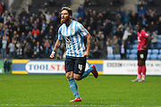 Coventry City midfielder Romain Vincelot celebrates Coventry's first goal during the Sky Bet League 1 match between Coventry City and Peterborough United at the Ricoh Arena, Coventry, England on 31 October 2015. Photo by Alan Franklin.